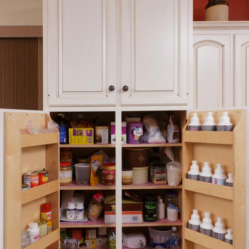 Kitchen pantry cabinets with shelves built into the doors in Liverpool, PA