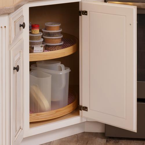 Bottom hardwood kitchen cabinet with two revolving trays