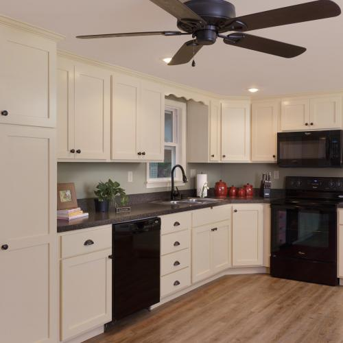 Solid wood kitchen cabinets with recessed panels, color custom creme