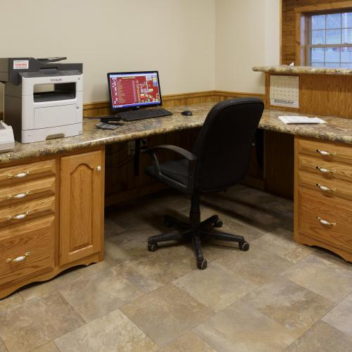 Hardwood office cabinets and drawers with granite design desktop in Liverpool, PA
