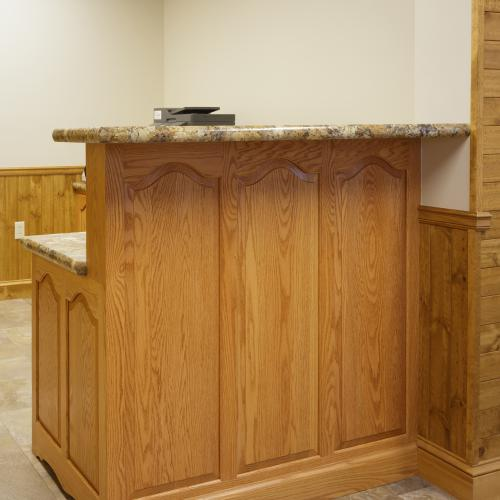 Receptionist counter with beautiful hardwood base custom-built in Harrisburg, PA
