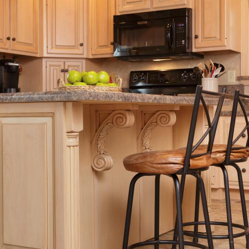 Decorative details on the custom-built kitchen island