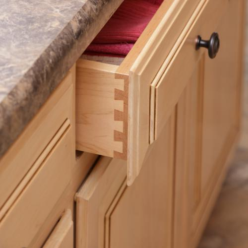 Interlocking wood design on the corner of the drawer handcrafted in Harrisburg, Pennsylvania