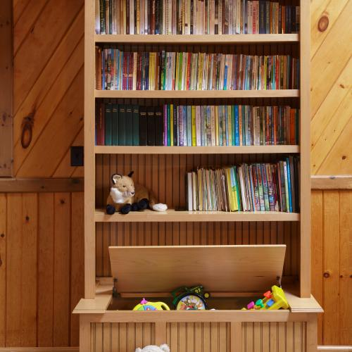 Maple wood bookcase and toy box combination in Liverpool, PA